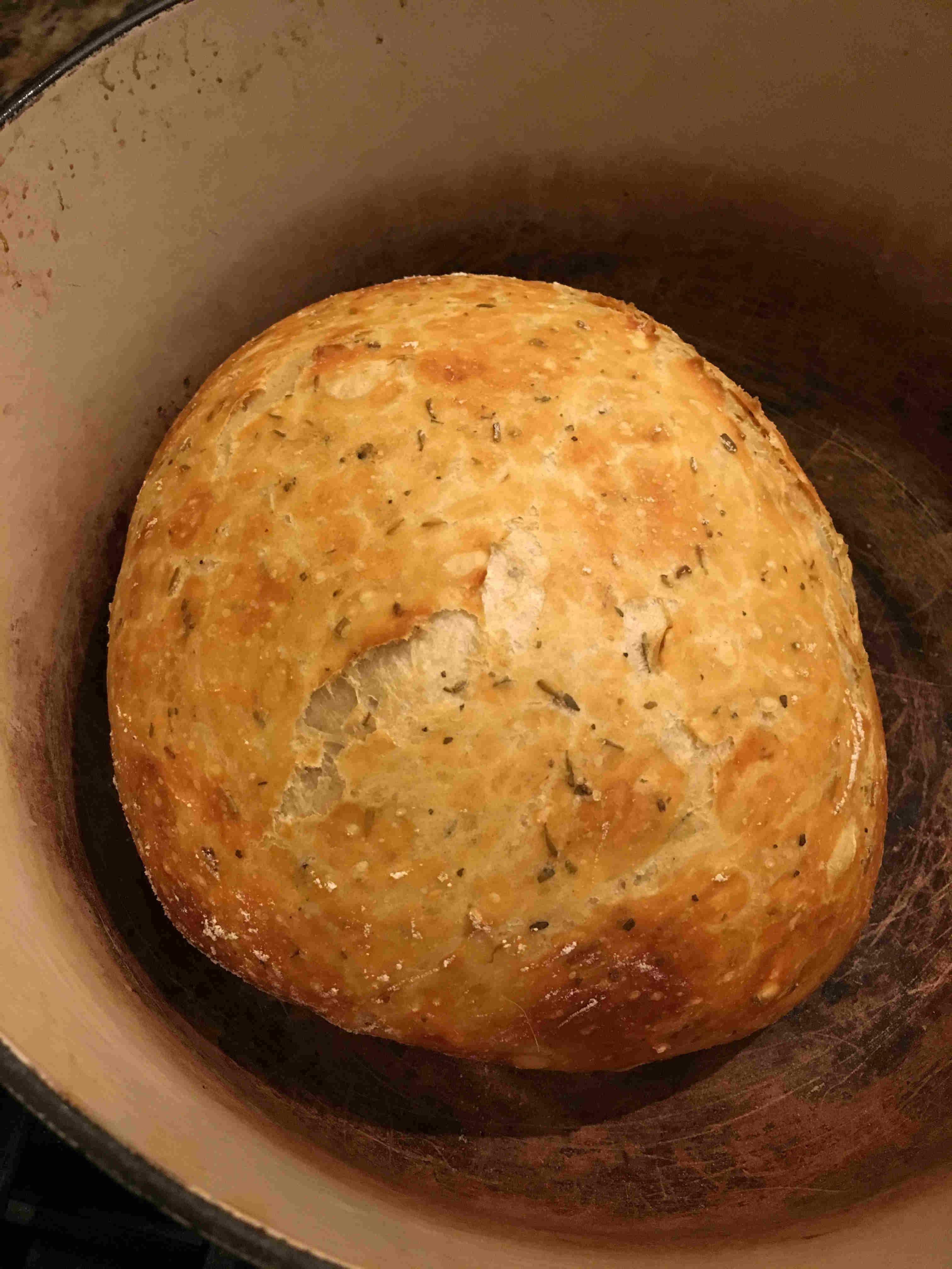 in Dutch oven before baking