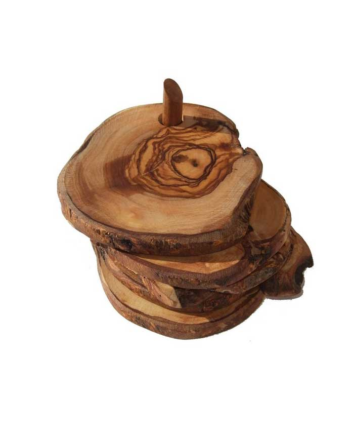 Kitchen Essentials Dishware Olive Wood Drink Coasters