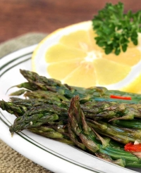 Asparagus with White Garlic Truffle Vinaigrette